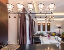 luxury interior apartman- view from the kitchen worktop